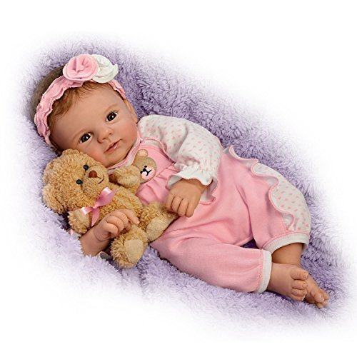 (Violet Parker So Truly Real Baby Doll with Plush Teddy Bear by The Ashton-Drake Galleries)