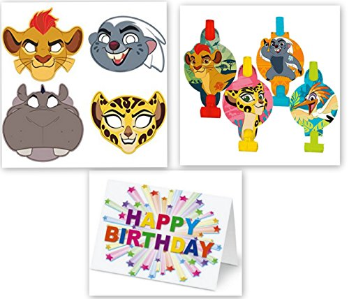 Lion Guard Party Blowouts Masks Favors Treats Lion King Birthday Party Supplies (8-Pieces) plus Card by HALL