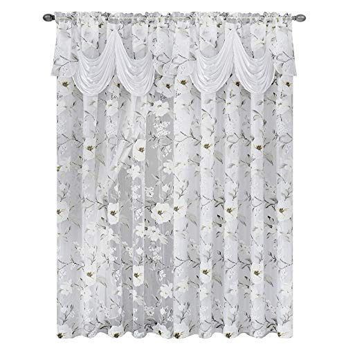 Attached Valance - GOHD Golden Ocean Home Decor Roman Romance. Burnt-Out Printed Organza Window Curtain Panel Drape with Attached Fancy Valance and Taffeta Backing (White, 55 x 84 inches + Attached Valance x 2pcs)