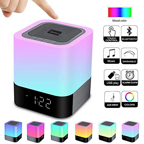 Alarm Clock Bluetooth Speaker Night Light Wireless Speaker, Touch Sensor Bedside Lamp, Dimmable Warm Light & Color Changing MP3 Music Player for Kids,Party,Bedroom,Camping