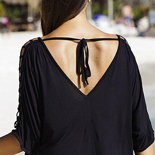 iBaste cover up beach, Talla Grande Cuello V Mangas de Malla Casual Blusa Playa Camiseta