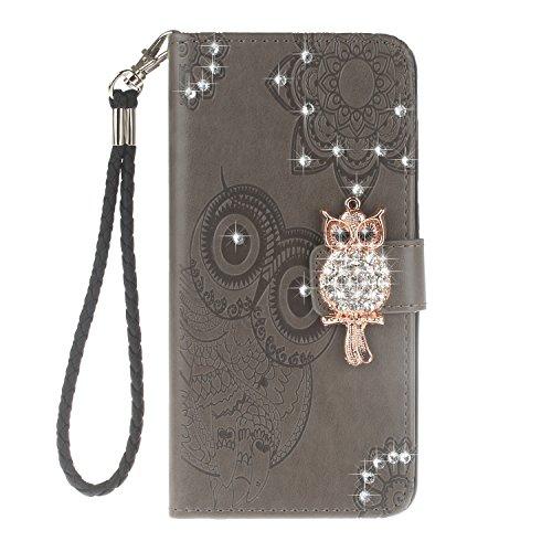 COWX Handyhülle für Huawei Mate 10 Lite Hülle Leder Flip Case Brieftasche Etui Schutzhülle für Huawei Mate 10 Lite Tasche Cover Rhinestone Eule (Grau) Jqt4WqM