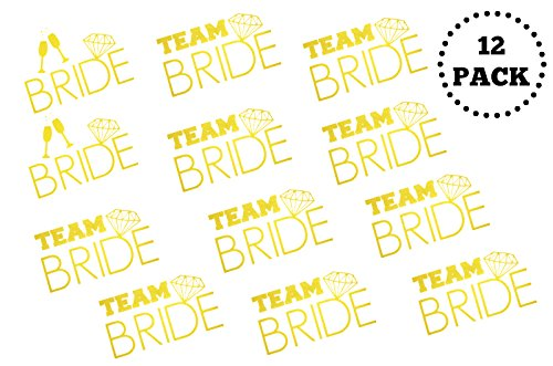 [12 Pack] Bachelorette BRIDE and TEAM BRIDE Temporary Tattoos - Metallic Shiny Gold Flash Tattoos - Bachelorette Party Supplies Ideas Accessories - Which Should I Sunglasses Buy