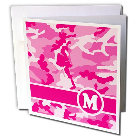 3d Rose 3dRose Cute Pink Camo Camouflage Letter M - Greet...