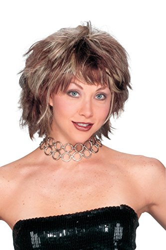 UHC Adults Choppy Layered Shag Cut Wig Halloween Costume Accessory (Brown/White)