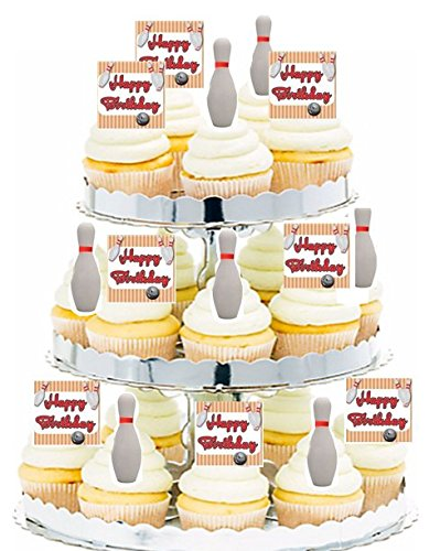CakeSupplyShop 24pk Birthday Party Food/Appetizer /Desert/Cupcake Decoration Toppers (24pack Bowling) ()