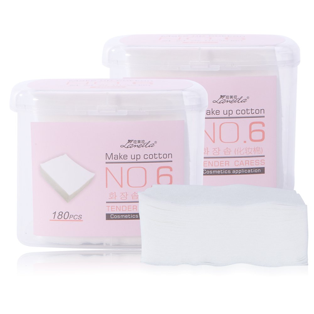Makeup Cotton Pads, Premium Cotton Facial Eye Nail Makeup Remover Pads Thin cotton Wipes Pads For Make up Cleaning or Skin Care, Random Color (180pcs)