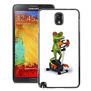 A-type Arte & diseño plástico duro Fundas Cover Cubre Hard Case Cover para Samsung Note 3 N9000 (Gym Sports Frog White Stationary Bicycle)