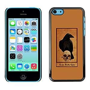 GOODTHINGS Funda Imagen Diseño Carcasa Tapa Trasera Negro Cover Skin Case para Apple Iphone 5C - sombrío cuervo cráneo marrón cuervo reaper