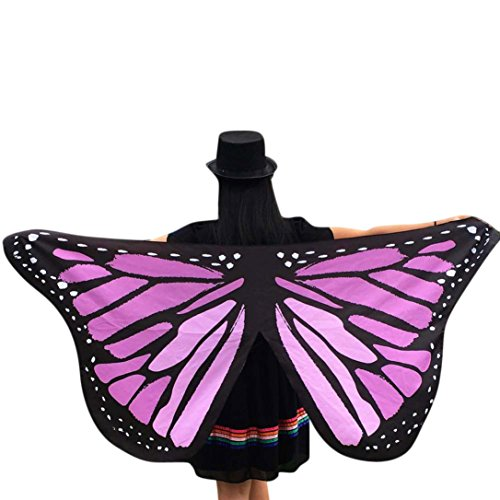 Party Costume, METFIT Soft Fabric Butterfly Wings Shawl Fairy Ladies Nymph Pixie Costume Accessory 2017 (Purple)