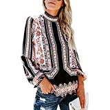 c33869f010e7f7 Dearlovers Women's Turtleneck Floral Printed Long Sleeve Loose Casual Blouse  Tops Tshirts L White