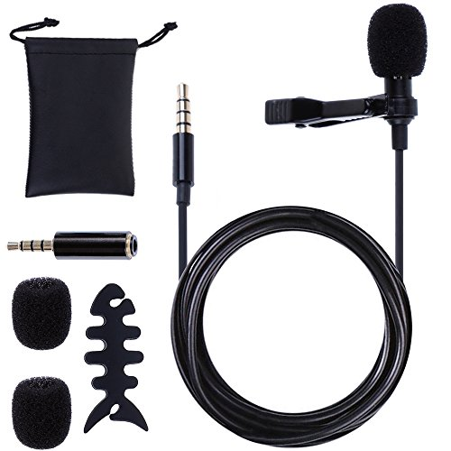Rovtop Black Lavalier Lapel Microphone Omnidirectional Mic with Clip for iPhone, iPad, iPod Touch, Samsung Phones and Windows Smartphones, Recording, Not Suitable for Computer and (Fishbone Earphone)