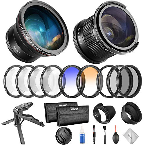 Neewer 52mm Camera Lens and Filter Set Kit with Fisheye, Wide Angle Lens and Filter Kit for Nikon AF-S DX 18-55mm F/3.5-5.6 VR, Canon EF-M 18-55mm is STM, Canon EF 50mm f/1.8 II and More