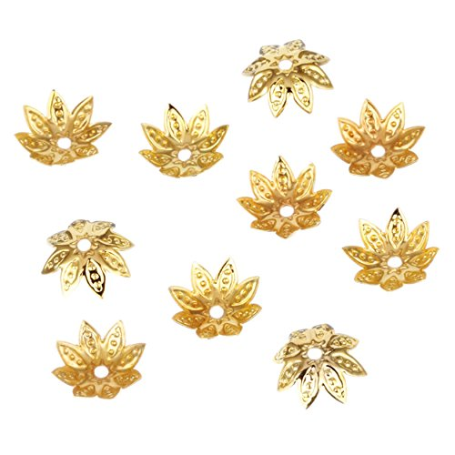 Flower Craft Beads Charms (Gold Charm Flower Filigree Loose Spacer Beads End Caps Crafts Finding Jewelry Making DIY)