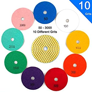 """Wet Diamond Polishing Pads Set, 4"""" 10 Pads 50 to 3000 Grit with Hook and Loop Backing Holder Disc - Ideal Buffing Kit for Granite Concrete Marble Stone Countertop Tile Floor Grinder or Polisher"""