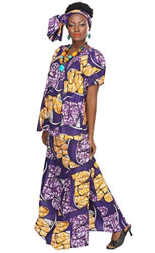 African Planet Women's Purple Wax 3 Piece Set Skirt Kenya Elastic Printed Waist Maxi by African Planet (Image #1)