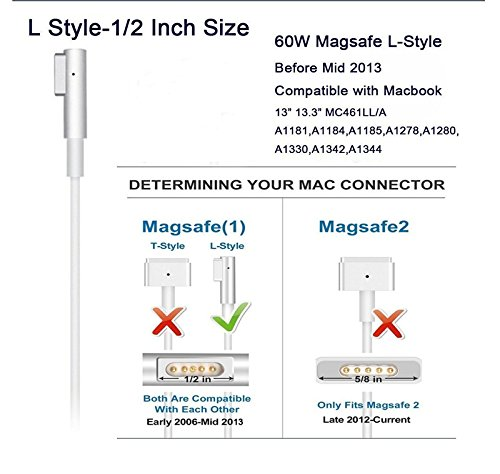 Macbook Pro Charger, Skdroe Replacement 60W Magsafe (L) Shape Connector Ac Power cableAdapterMac laptoppower supply for Macbook and 13-inch Macbook Pro (Before Mid 2012 Models)