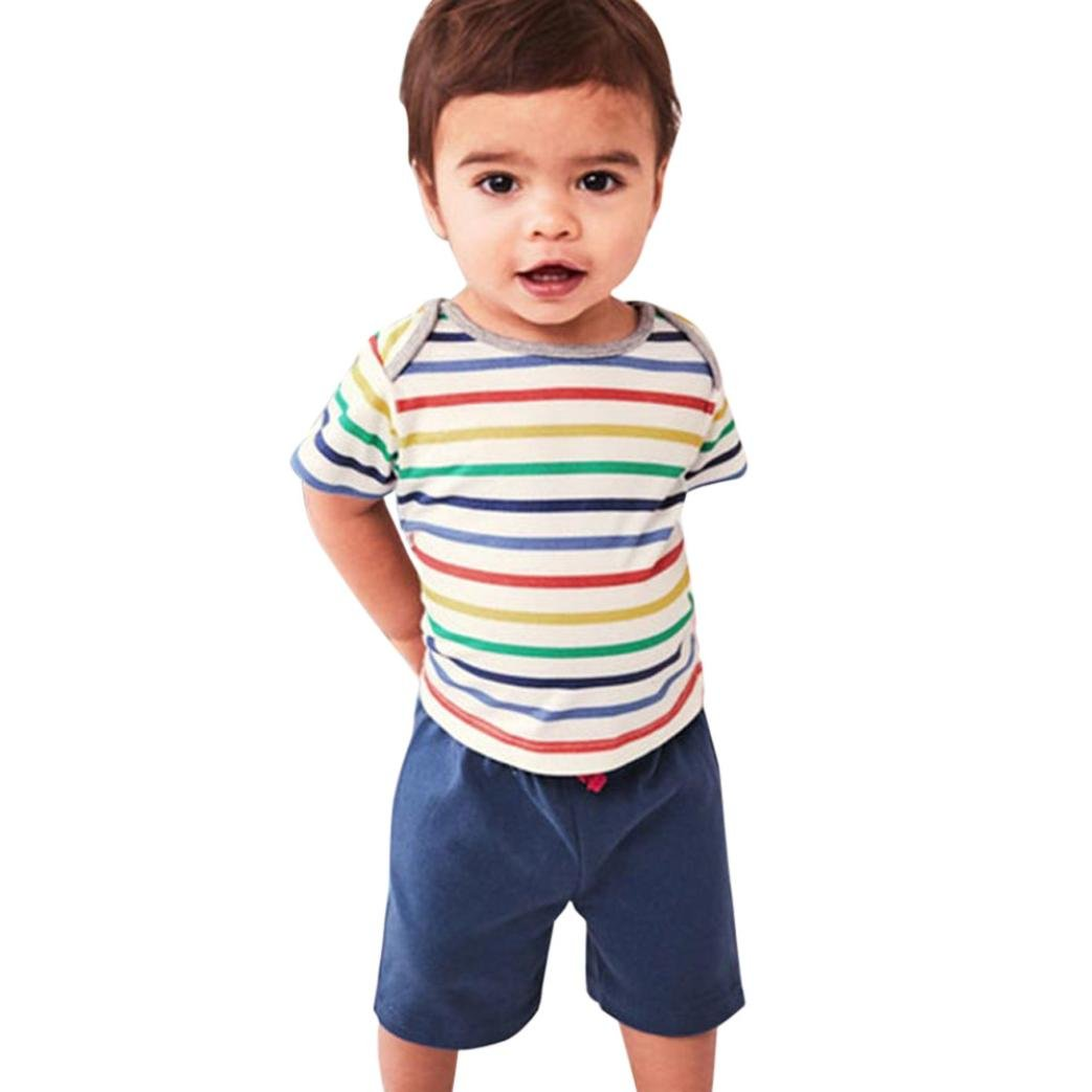 Webla Toddler Baby Boys Girls Striped T-Shirt+Short Pants Summer Tracksuits Outfits Set Ages 1-4 Years 3-4T