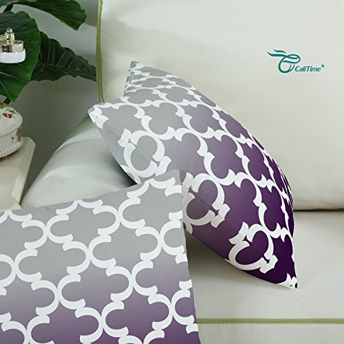 Pack of 2 CaliTime Canvas Throw Pillow Covers Cases for Couch Sofa Home Decor, Modern Gradient Quatrefoil Accent Geometric, 18 X 18 Inches, Gray/Deep Purple