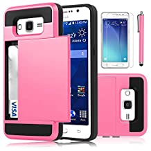 Galaxy Grand Prime Case, EC™ [Shockproof][Drop Protection] Hybrid Dual Layer Slim Wallet Case with Card Slot Holder Hard Shell Cover for Samsung Galaxy Grand Prime G530 (Hot Pink)