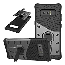 Galaxy Note 8 Case, NOKEA [Heavy Duty] [Dual Layer] Combo Holster Cover Defender Full Body Protective Cover with 360 Degree Rotating Kickstand for Samsung Galaxy Note 8 (Black)