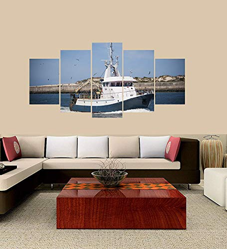 XINGAKA Premium Quality XINGAKAed Wall 5 Pieces / 5 Pannel Wall Decor Fishing Boat Lots of Seagulls Painting, Home Decor Pictures - with Wooden Frame