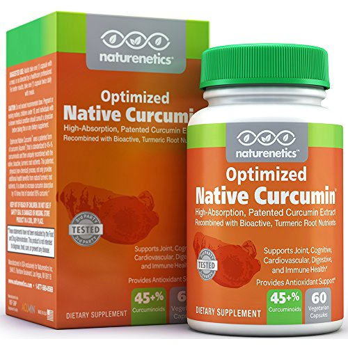 Turmeric Curcumin New Patented Turmeric Extract – Supports Joints & Overall Health – Native Curcumin by Naturenetics: 10x Better Absorption – No Black Pepper Needed – 1 Capsule = 45-50% Curcuminoids For Sale