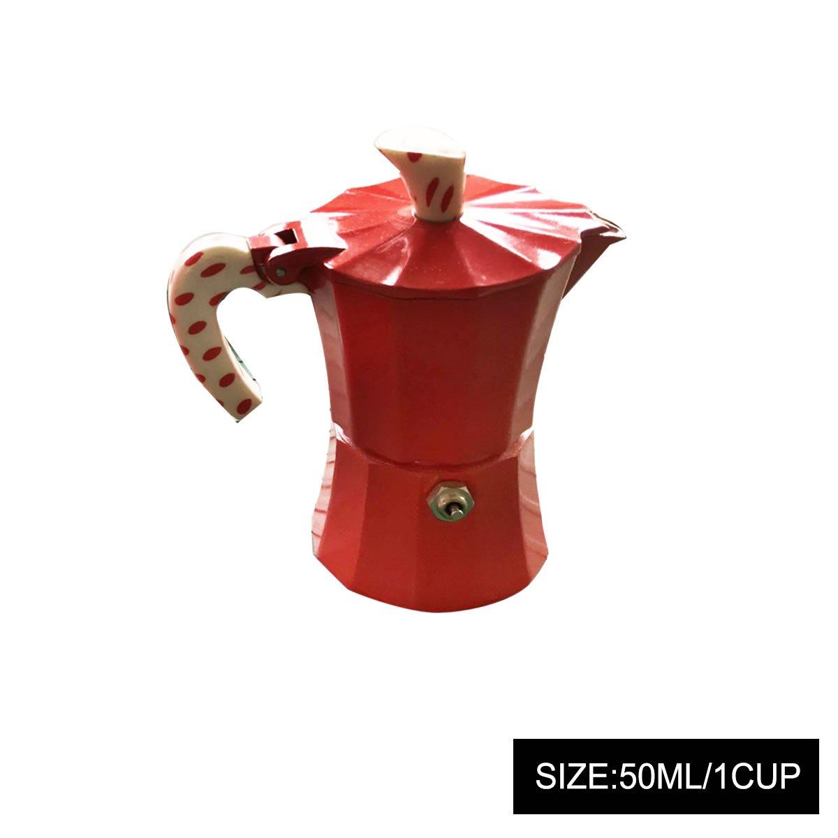GOODFEER LONGLISHENG 1 Cup Mocha Pot with Polka Dot Printed Handle Aluminum Alloy Coffee Maker
