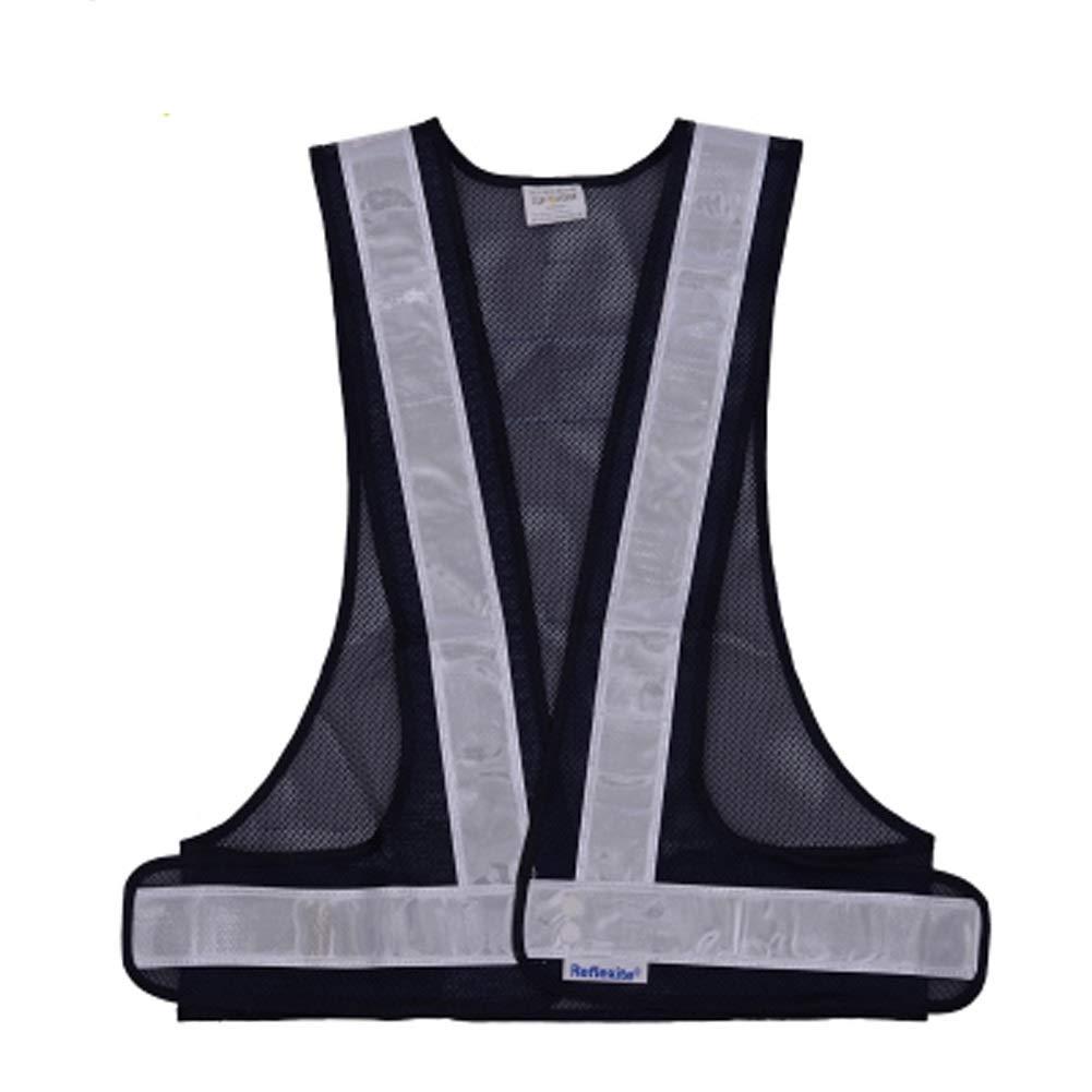 RYYAIYL V-Type Reflective Vest/Reflective Running Vest/Cycling Vest/Safety Vest/Reflective Warning Vest/Multifunctional Vest (Color : Navy)