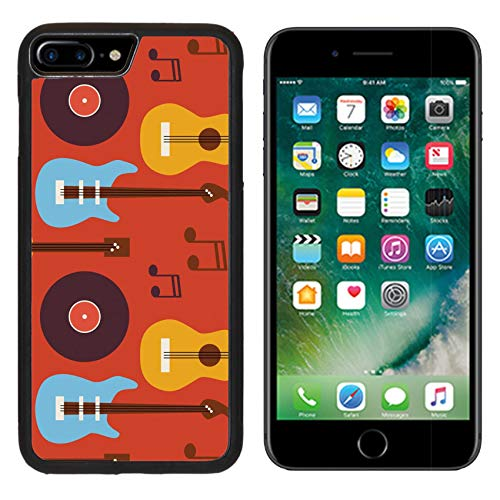Luxlady Apple iPhone 8 Plus Case Aluminum Backplate Bumper Snap iphone8 Plus Cases ID: 42172068 Pattern Music Instrument Guitar Vinyl Disc and Note Flat Style Vector Seamless