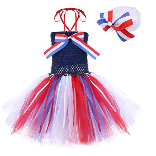Moon Kitty Baby Girls Christmas Flag Tutu Dresses Handmade Cute 2PCS Infant Dress Custome -