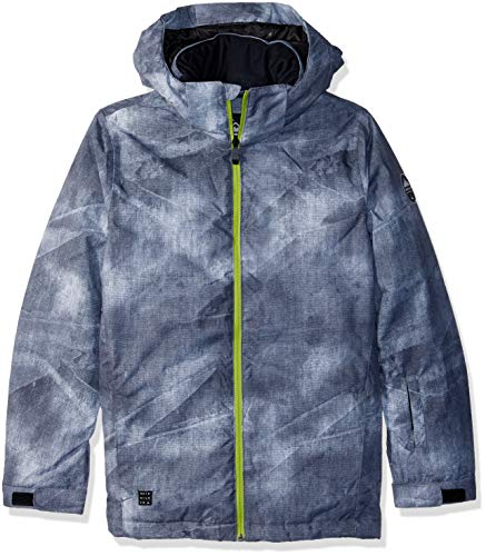 Quiksilver Boys' Big Mission Printed Youth 10K Snow Jacket, Grey Simple Texture, ()
