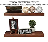 Rustic Farmhouse Premium 2 Tier Floating Wood Shelf - Floating Wall Shelves (Set of 2), Hardware and Fasteners Included (2 Tier 8', Walnut)