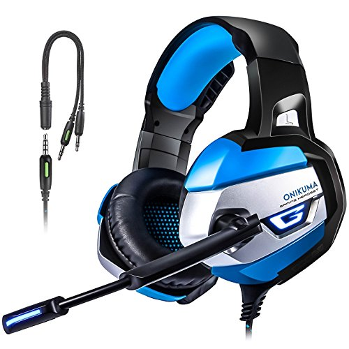 PS4 Gaming Headset, TUSBIKO Noise Cancelling Gaming Headphones with Microphone, LED Lights, Bass Surround Sound Over Ear Wired Headset for Xbox One, PC, Laptop, iPad, Mac, Nintendo Switch Games by TUSBIKO