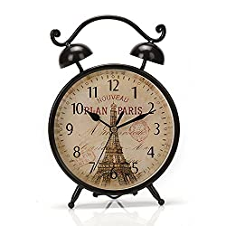 9.6x6.6 Handcrafted Metal Round Analog Silent Covered Quartz Desktop Clock with Handle,Glass on Front (Black)