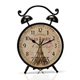 9.6″x6.6″ Handcrafted Metal Round Analog Silent Covered Quartz Desktop Clock with Handle,Glass on Front (Black)