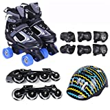 Inline Skates Double Roller Shoes Two-in-One Girls Adjustable Size Roller Skates Shoes Roller Blades Childrens Adults Kids Boys Breathable Rollerblades For Beginners Toddlers Child,Black-L