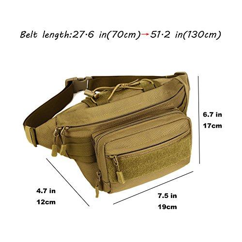 DCCN Hüfttasche Tactical Bachtasche Armee mit Flaschenhalter für Outdoor Sport Trekking Wandern Angeln Typ2-Braun zW3GDJepE