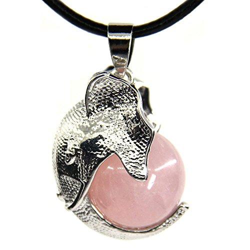 Natural Rose Quartz Healing Chakra Gemstone Crystal Elephant Charm Pendant Leather Necklace ()