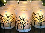 BANBERRY DESIGNS Glittery Winter Trees and Snow Set Frosted Glass Votive Candle Holders with Three Flameless Flickering LED Tealights Included