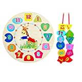 Oldeagle Baby Wooden Clock Beaded Beads Toy Toddler Infant Intelligence Educational Toys