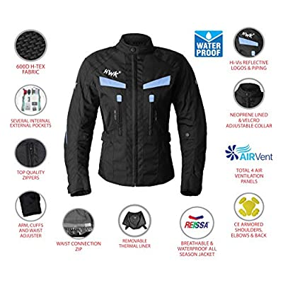Women's Motorcycle Jacket For Women Stunt Adventure Waterproof Rain Jackets CE Armored Stella (Sky Blue, 4XL): Automotive