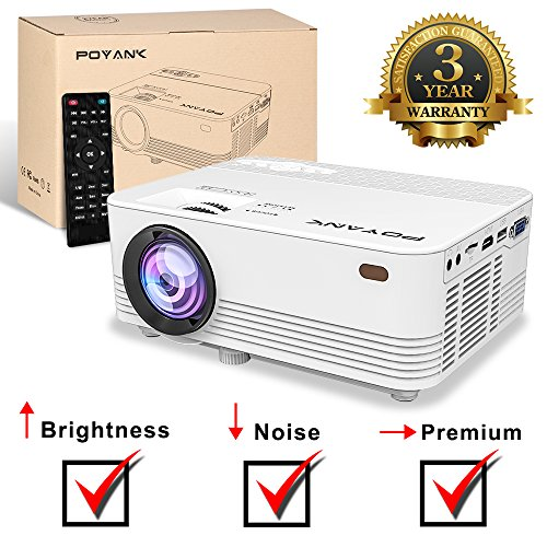POYANK [Brightness & Noise Upgraded] Mini Projector- 50,000 Hours LED Projector, HDMI/VGA/AV/USB/SD/PS4/XBOX/TV BOX/Roku Stick/Chromecast/Fire TV Stick/iPhone/iPad/Android/Laptop/DVD, 1080P Supported