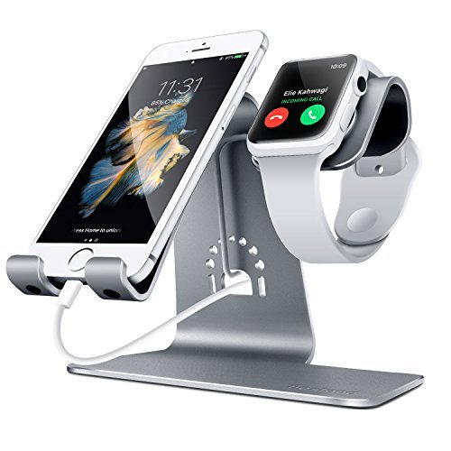 Bestand 2 in 1 Apple iwatch Charging Stand Holder&Phone Desktop Tablet Dock for Apple Watch/iPhone X/8Plus/8/7 Plus/iPad (Space Grey)