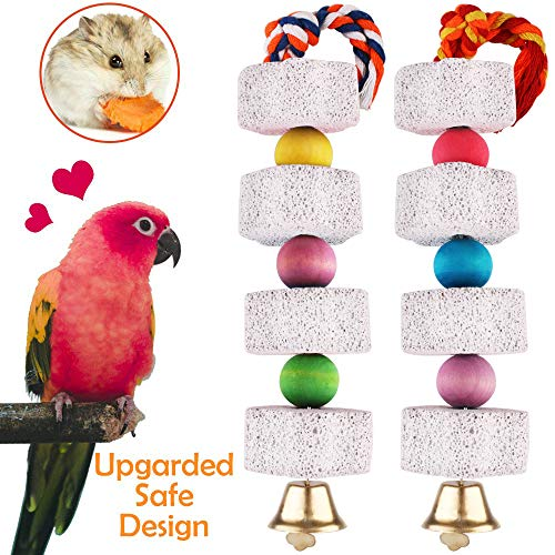 Unibene Parrot Chewing Toy, Bird Beak Grinding Stone with Bell, Lava Block Calcium Supplement Food for African Greys Amazon Conure Eclectus Budgies Parakeet Cockatiel Hamster Chinchilla Rabbit, 2 Pack