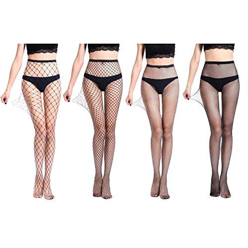 4 Pairs High Waist Tights Fishnet Stockings Thigh High Socks Mesh Net Pantyhose