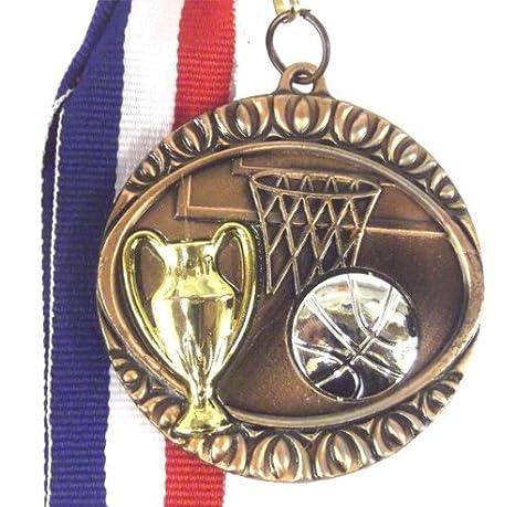Baloncesto bronce realzado 45 mm medalla x10 cablefinder: Amazon ...