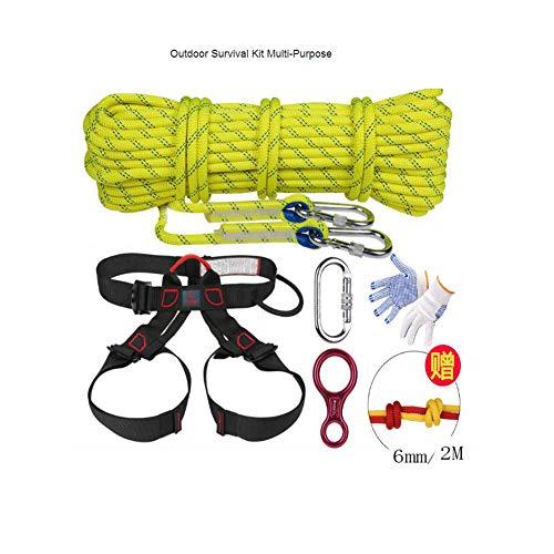 ピアース記念日消費アウトドアサバイバルキット多目的緊急用具旅行用ハイキング用に設定されたサバイバルギアツールキットキャンプ用安全ロープクライミングロープ (色 : 赤, サイズ : Diameter 10.5 mm/10 m kit)