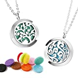 2Pcs Essential Oil Necklace Aromatherapy Diffuser Necklace Stainless Steel Locket Pendant