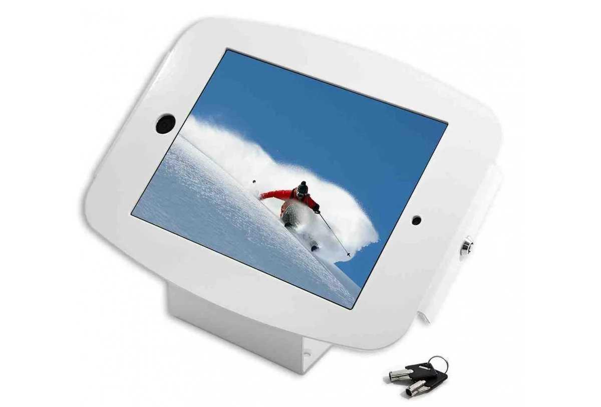 Compulocks 101W235SMENW Maclocks 101B235SMENB iPad Space Enclosure Kiosk With 45-Degree Counter-top or Wall Mount for iPad Mini (White) by Compulocks